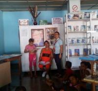 """La librería """"El Arte"""" del municipio de Buey Arriba, junto a trabajadores de Joven Club Buey Arriba II realizan   actividades para el esparcimiento sano y la recreación de los infantes."""