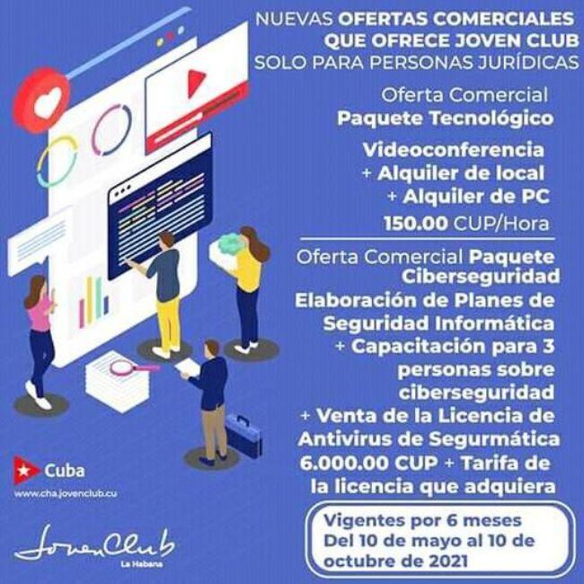 Los Joven Club de Campechuela promocionan nuevas ofertas comerciales en la modalidad de paquete.
